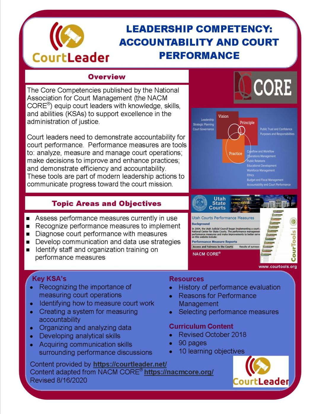 Court Leader Core Summary - Accountability and Court Performance rev 8-16-20